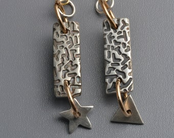 silver earrings with triangle and star,  asymmetrical textured earrings, one of a kind, handmade, silver metal clay