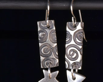 fine silver spiral texture earrings, triangle and stare drops on sterling silver ear wires, silver metal clay