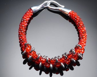 "beaded kumihimo  bracelet, red silver kumihimo beaded bracelet,  One of a kind beaded bracelet, 8 1/2"" beaded bracelet"
