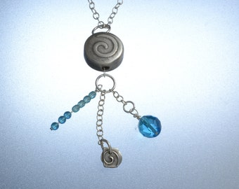 """fine silver broach with charms and aqua beads,  28"""" SS chain"""