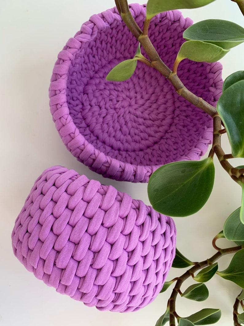 Set of  baskets mother\u2019s day gift round basket decor for home and bedroom storage basket Crochet basket basket for home