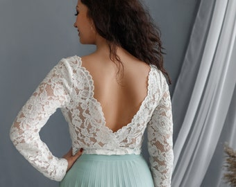 V back top, Wedding crop top, Open Back Lace Top, Long Sleeves bridal top, Backless Lace top, Bridal Separates,  White wedding lace top