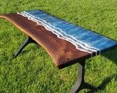 Your custom black walnut ocean desk, wave desk, beach desk, live edge desk, ocean table