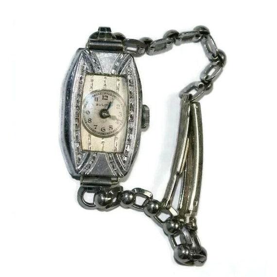Lady Bulova Art Deco Watch with Case 1930's Deco S