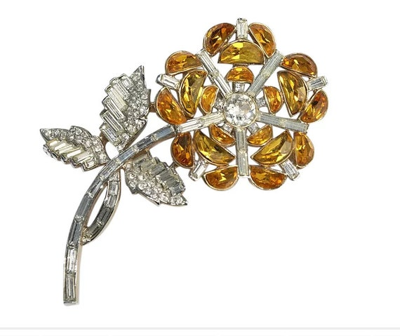 Trifari Demi Lune Rhinestone Floral Pin Brooch 195