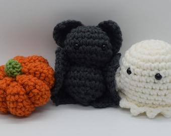 Crochet Halloween Trio (Pumpkin, Bat, and Ghost)