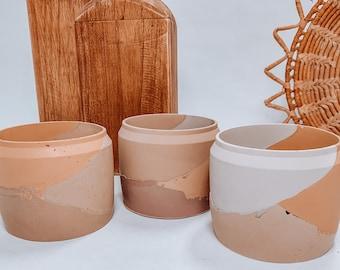 Desert Layered Concrete Plant Pot | Concrete Planter | Abstract Planter | Plant Pot Drainage | Minimalist Planter | Boho Plant Pot | Planter