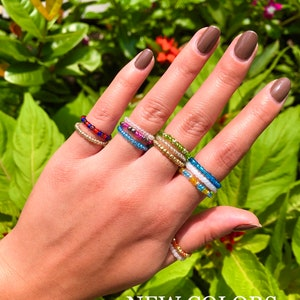 Dark Green Blue Brown Red Glass Seed bead layered wire ring Bohemian beaded ring Dainty Pinky ring Woodland ring Art deco ring Minimal