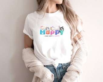 Happy cats Shirt - Popular right now - shirt - T shirt for women-T shirt for her - gift for best friend -T1073