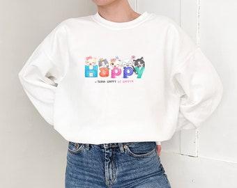 Happy Cats Sweatshirt - Soft, Cozy, Warm, College Sweatshirt, Women's Sweatshirt - Gift for her, Best friend gift -S1073