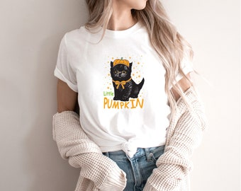 Black Cat Shirt - Pumpkin shirt - Popular right now - shirt - T shirt for women-T shirt for her - gift for best friend -T1074