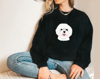 Cute Dog Face Sweatshirt - Soft, Cozy, Warm, College Sweatshirt, Women's Sweatshirt - Gift for her, Best friend gift -S1071