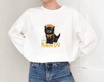 Black Cats Sweatshirt - Pumpkin, Soft, Cozy, Warm, College Sweatshirt, Women's Sweatshirt - Gift for her, Best friend gift -S1074