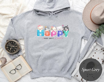 Happy Cats Hoodie - Cute Hoodie - College, Gildan, Camping Hoodie - Gift for Her, Gift for Him, Best friend gift - H1073