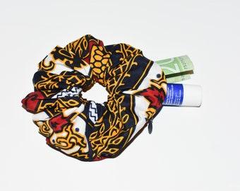 INAYA - African Prints Zipper Scrunchie   Stash Scrunchie  Pocket Scrunchie   Chouchou avec fermeture   Choucou en wax   Imprimés africains