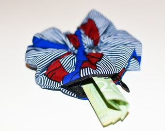JESSY - African Prints Zipper Scrunchie   Stash Scrunchie  Pocket Scrunchie   Chouchou avec fermeture   Choucou en wax   Imprimés africains