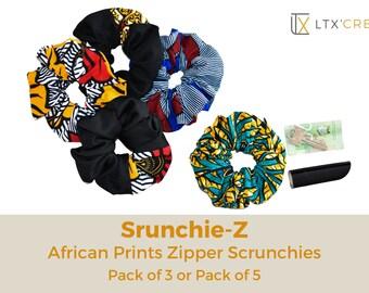 African Prints Zipper Scrunchies   Stash Scrunchie  Pocket Scrunchie   Chouchou avec fermeture   Choucou en wax   Imprimés africains