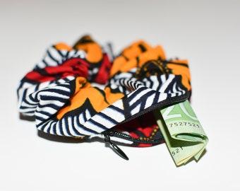 EVE - African Prints Zipper Scrunchie   Stash Scrunchie  Pocket Scrunchie   Chouchou avec fermeture   Choucou en wax   Imprimés africains