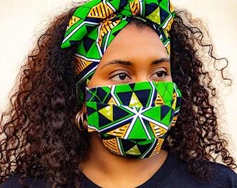 Wired Headband + Face mask Set. African Prints   Ensemble bandeau avec fil de fer et masque barrière