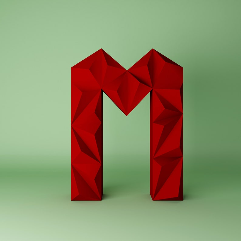 Alphabet M 3D Papercraft Letters 3D Lyric DIY Paper Craft 3d model wall decor Letter PDF Template Gift Birthday Low Poly Papercraft