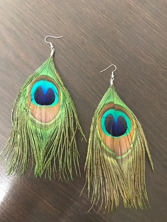 jewelry for her peacock pheasant feather earrings Feather Dangle Earrings