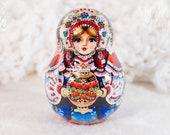 Roly-poly, Russian traditional doll, Matryoshka, Music doll, Samovar, Tea drinking