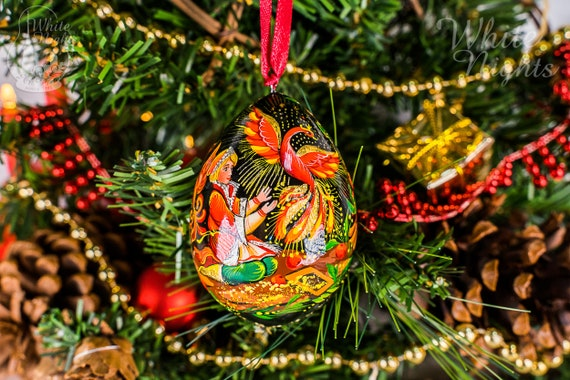 Christmas tree decorations Firebird Christmas tree ornament Christmas Egg Wooden decoration  2.7 7cm Phenix  hand painted decor Fairytale
