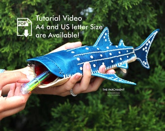 Leather Whale Shark Pencil Case, Leather Pattern, Leather Pdf, Template, DIY, Tutorial, Pencil Box, Handmade, Patterns and How to