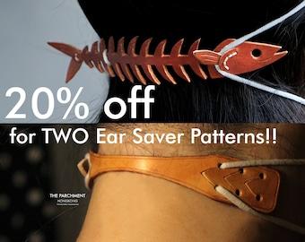 Saury Bone Ear Saver, Leather Ear Saver, Leather Patterns, Leather Pdf, Template, DIY Bow Tie, Tutorial, Handmade, Mask