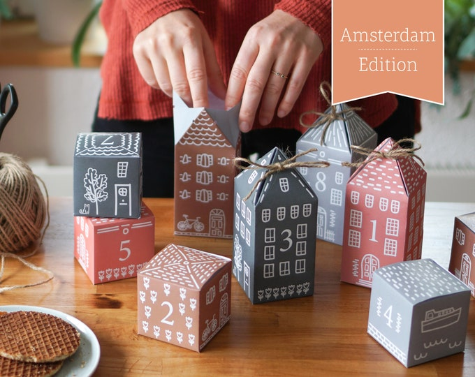 """Advent Calendar """"Amsterdam"""" to print, cut out & fill, 25 boxes incl. instructions as digital download in A4 and US Letter"""