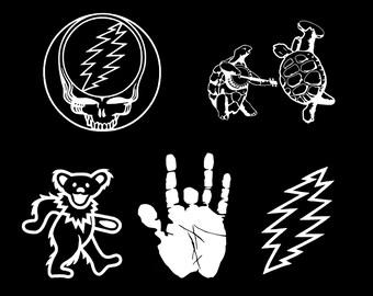 Hand Drawn Cartoon of Jerry Garcia Vinyl Sticker Decal Grateful Dead
