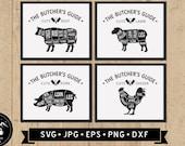 Butcher 39 s Guide SVG (4 Designs), Cuts of Meat Chart Sign SVG, Farmhouse Kitchen Wall Art svg, Vintage Restaurant Sign svg, Digital Download