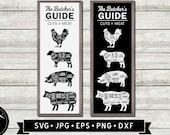 Butcher 39 s Guide SVG, Cuts of Meat Chart Sign SVG, Farmhouse Kitchen Wall Art svg, Vintage Restaurant Sign svg, Beef Cut, Digital Download