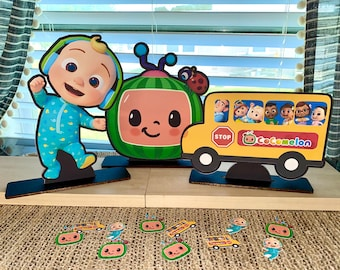 Cocomelon centerpieces, jj,cake topper, party, birthday,theme,cupcake topper,decorations, wheels on the bus, table, youtube, standees,wood