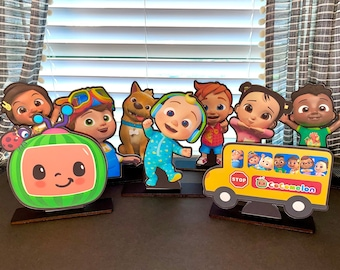 Cocomelon centerpieces, jj, standees, table decor, party, birthday, theme, cutouts, topper, decorations, wheels on the bus, table, youtube