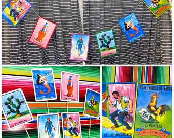 Personalized Fiesta Mexican loteria Mexicana bingo game banner decoration birthday party favor table decor retirement anniversary wedding