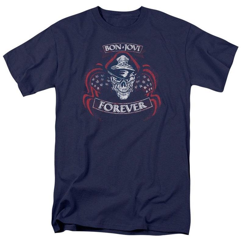 Officially Licensed Forever Skull Bon Jovi\u2122 Shirt Adult UnisexMenWomen Short Sleeve T-Shirt