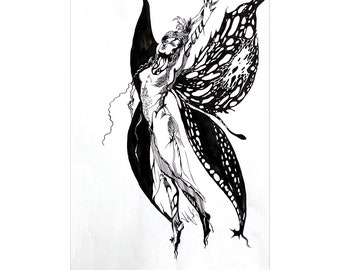 Nude Line Drawing Butterfly Art Original Painting Angel Wings Watercolor Artwork Graphic Fairy Black and White Wall art 8 by 12/' by ArtRinka