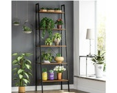 SALE Beautifully Made 5 Industrial Tier Ladder Shelving Stand Ladder Rack Wooden Free Delivery