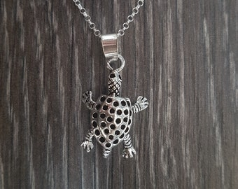 Sterling Silver Articulated Tortoise Necklace