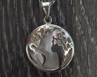 Mother of Pearl & Sterling Silver World Necklace