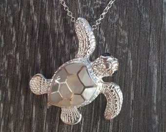 Mother of Pearl & Sterling Silver Turtle Necklace