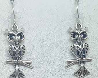 Sterling Silver with Cubic Zirconia Articulated Barn Owl Earrings