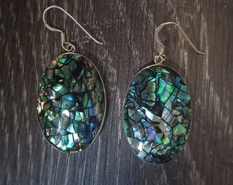 Abalone Shell with Sterling Silver Crackled Effect Earrings