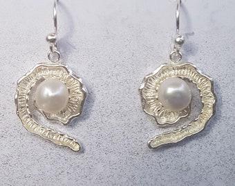 Freshwater Pearl & Sterling Silver Fancy Swirl Earrings