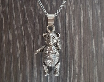 Sterling Silver Articulated Teddy Bear Necklace