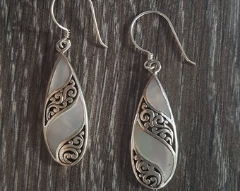 Mother of Pearl & Sterling Silver Stripped Teardrop Earrings