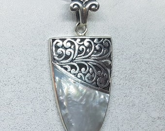 Mother of Pearl & Sterling Silver Ornate Long Drop Necklace