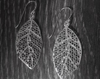 Sterling Silver Etched Leaf Earrings