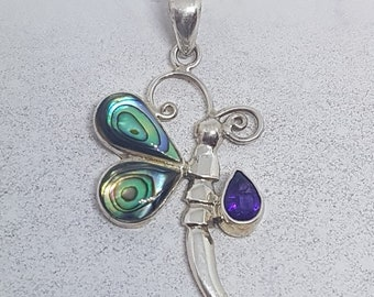 Abalone Shell with Amethyst & Sterling Silver Dragonfly Necklace